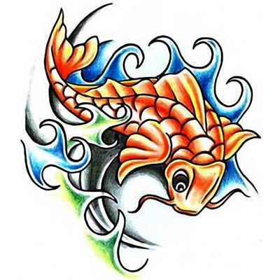 Koi Fish Design Water Transfer Temporary Tattoo(fake Tattoo) Stickers NO.11335