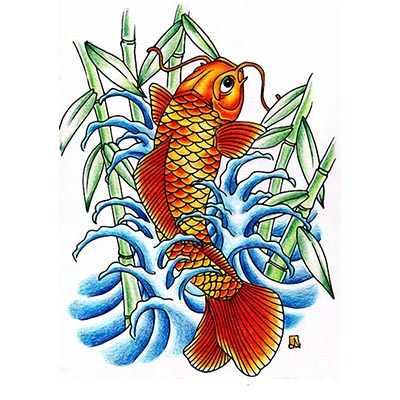 Koi fish bamboo Design Water Transfer Temporary Tattoo(fake Tattoo) Stickers NO.11324