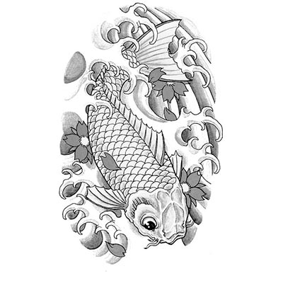 Koi fish cherry blossom Design Water Transfer Temporary Tattoo(fake Tattoo) Stickers NO.11325