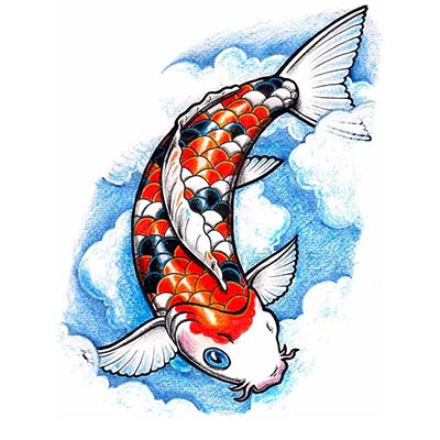 Koi fish clouds Design Water Transfer Temporary Tattoo(fake Tattoo) Stickers NO.11326