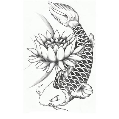 Lotus koi fish Design Water Transfer Temporary Tattoo(fake Tattoo) Stickers NO.11339
