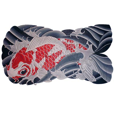 White koi Fish Design Water Transfer Temporary Tattoo(fake Tattoo) Stickers NO.11340