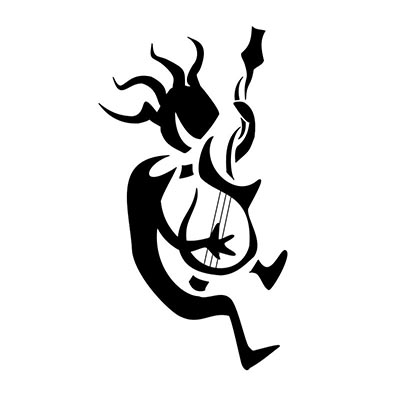 Guitarist Kokopelli Stencil Design Water Transfer Temporary Tattoo(fake Tattoo) Stickers NO.11344