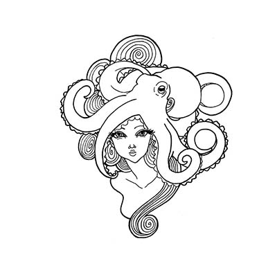 Lady octopus Design Water Transfer Temporary Tattoo(fake Tattoo) Stickers NO.11381