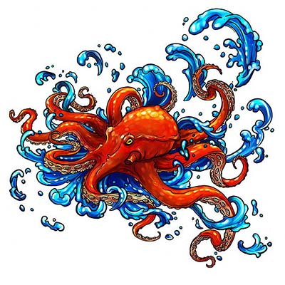 Octopus Design Water Transfer Temporary Tattoo(fake Tattoo) Stickers NO.11391