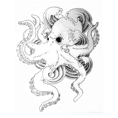 Octopus wave Design Water Transfer Temporary Tattoo(fake Tattoo) Stickers NO.11392