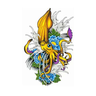 Squid flowers Design Water Transfer Temporary Tattoo(fake Tattoo) Stickers NO.11396