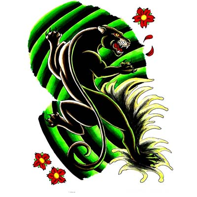 Black panther flowers Design Water Transfer Temporary Tattoo(fake Tattoo) Stickers NO.11403