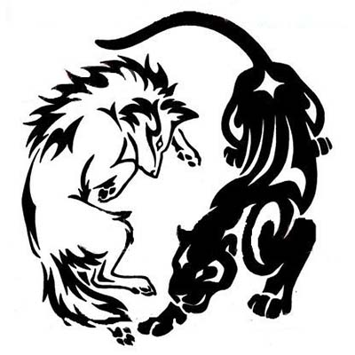 Wolf And Panther Design Water Transfer Temporary Tattoo(fake Tattoo) Stickers NO.11415