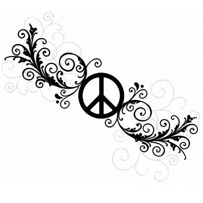 Feminine Peace Sign Design Water Transfer Temporary Tattoo(fake Tattoo) Stickers NO.11420