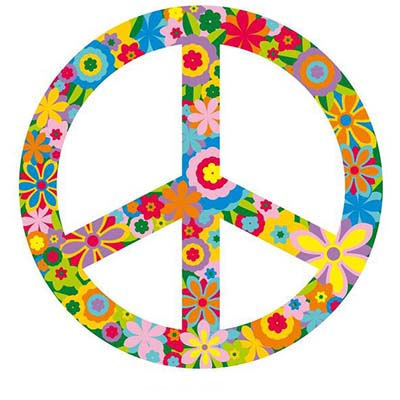 Flowers Peace Sign Design Water Transfer Temporary Tattoo(fake Tattoo) Stickers NO.11421