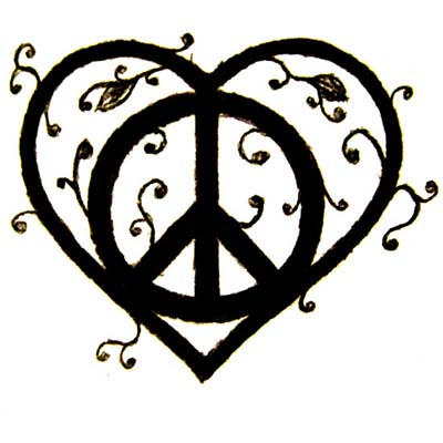Heart Peace Design Water Transfer Temporary Tattoo(fake Tattoo) Stickers NO.11422