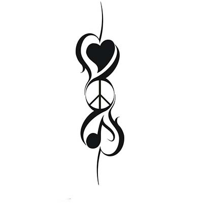 Peace Hearts Design Water Transfer Temporary Tattoo(fake Tattoo) Stickers NO.11426