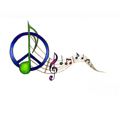 Peace Music Design Water Transfer Temporary Tattoo(fake Tattoo) Stickers NO.11427