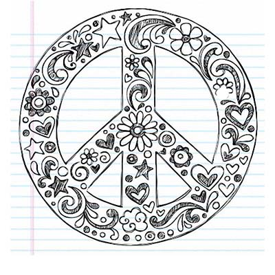 Peace Sign Drawing Design Water Transfer Temporary Tattoo(fake Tattoo) Stickers NO.11432