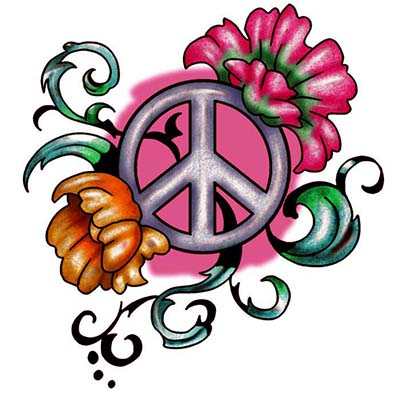 Peace Sign Flowers Design Water Transfer Temporary Tattoo(fake Tattoo) Stickers NO.11428