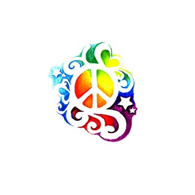 Peace Sign Stars Design Water Transfer Temporary Tattoo(fake Tattoo) Stickers NO.11429
