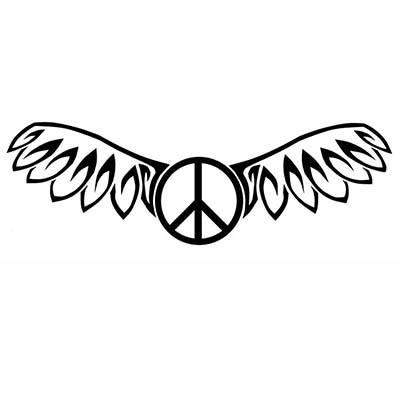 Peace Wings Design Water Transfer Temporary Tattoo(fake Tattoo) Stickers NO.11434