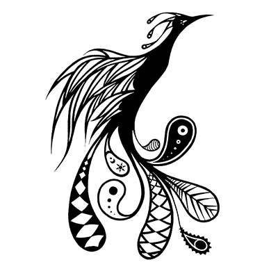 Black Phoenix Design Water Transfer Temporary Tattoo(fake Tattoo) Stickers NO.11436