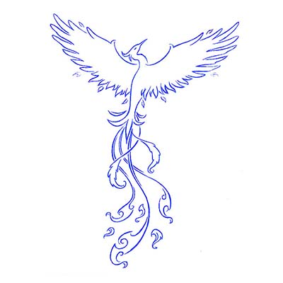 Blue Phoenix Design Water Transfer Temporary Tattoo(fake Tattoo) Stickers NO.11437