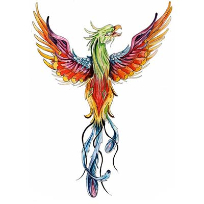 Phoenix Bird Design Water Transfer Temporary Tattoo(fake Tattoo) Stickers NO.11444