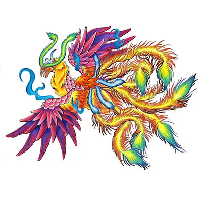 Phoenix Design Water Transfer Temporary Tattoo(fake Tattoo) Stickers NO.11454
