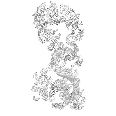Phoenix Vs Dragon Design Water Transfer Temporary Tattoo(fake Tattoo) Stickers NO.11458