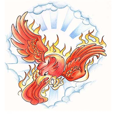 Sun Phoenix Design Water Transfer Temporary Tattoo(fake Tattoo) Stickers NO.11459