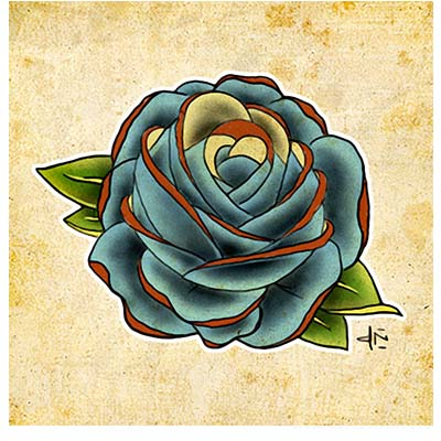 Blue Rose Design Water Transfer Temporary Tattoo(fake Tattoo) Stickers NO.11466