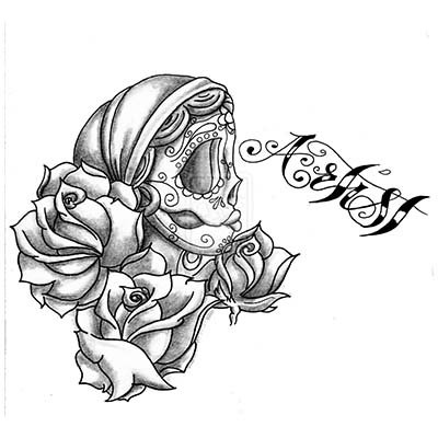 Gun n Roses Skull Drawing Design Water Transfer Temporary Tattoo(fake Tattoo) Stickers NO.11471