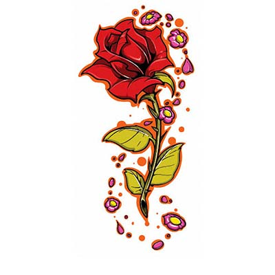 Red Rose Design Water Transfer Temporary Tattoo(fake Tattoo) Stickers NO.11481