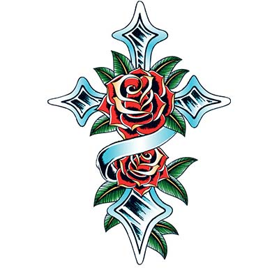 Rose Cross Design Water Transfer Temporary Tattoo(fake Tattoo) Stickers NO.11482