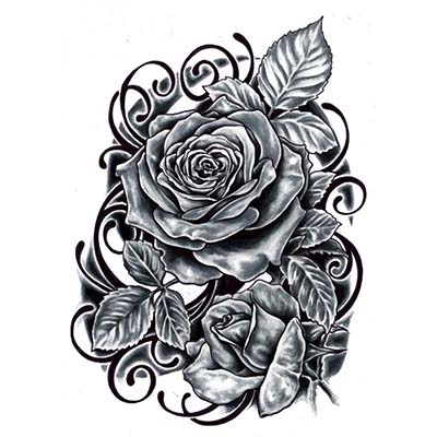 Rose Design Water Transfer Temporary Tattoo(fake Tattoo) Stickers NO.11496