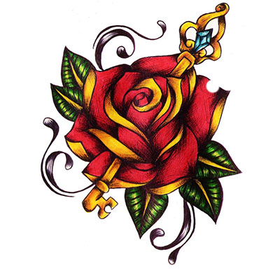 Rose Key Design Water Transfer Temporary Tattoo(fake Tattoo) Stickers NO.11485
