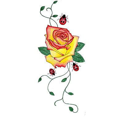 Rose Ladybugs Design Water Transfer Temporary Tattoo(fake Tattoo) Stickers NO.11486