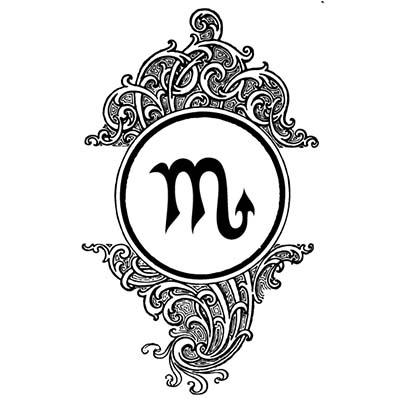 Scorpio Symbol Design Water Transfer Temporary Tattoofake Tattoo