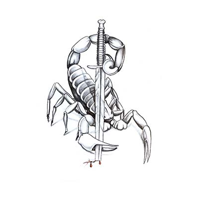 Scorpion Dagger Design Water Transfer Temporary Tattoo(fake Tattoo) Stickers NO.11502