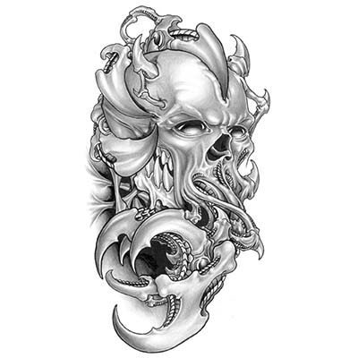 Death Skull With Gun Design Water Transfer Temporary Tattoo(fake Tattoo) Stickers NO.11525