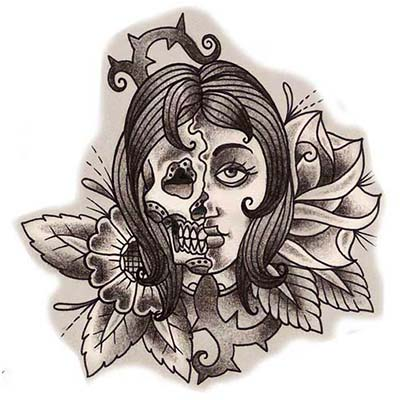 Girl Skull Design Water Transfer Temporary Tattoo(fake Tattoo) Stickers NO.11526