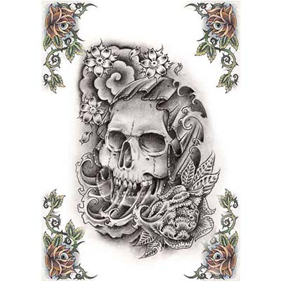 Skull Design Water Transfer Temporary Tattoo(fake Tattoo) Stickers NO.11537