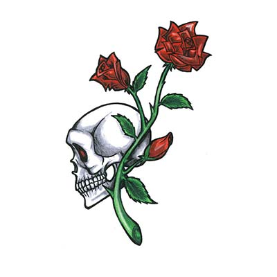 Skull Rose Design Water Transfer Temporary Tattoo(fake Tattoo) Stickers NO.11535
