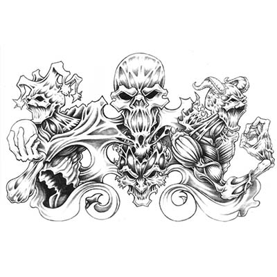 Snake Skull n Gun Design Water Transfer Temporary Tattoo(fake Tattoo) Stickers NO.11539