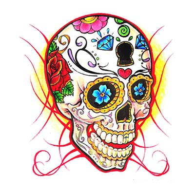 Sugar Skull Design Water Transfer Temporary Tattoo(fake Tattoo) Stickers NO.11541