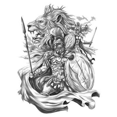 Spartan The Lion of Sparta Design Water Transfer Temporary Tattoo(fake Tattoo) Stickers NO.11553