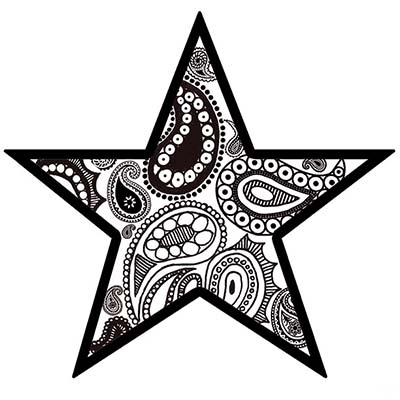 Paisley Star Design Water Transfer Temporary Tattoo(fake Tattoo) Stickers NO.11555