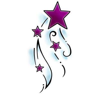 Shooting Star Design Water Transfer Temporary Tattoo(fake Tattoo) Stickers NO.11556
