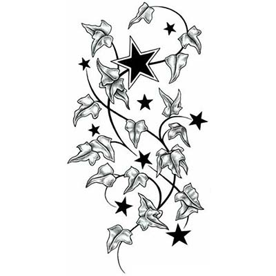 Star Design Water Transfer Temporary Tattoo(fake Tattoo) Stickers NO.11561