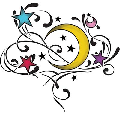 Stars Moon Design Water Transfer Temporary Tattoo(fake Tattoo) Stickers NO.11559