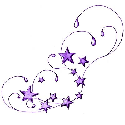 Swirly Star Design Water Transfer Temporary Tattoo(fake Tattoo) Stickers NO.11564