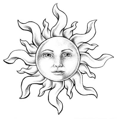 Black Sun Design Water Transfer Temporary Tattoo(fake Tattoo) Stickers NO.11566